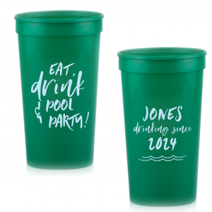 ForYourParty's elegant Teal 16 oz Stadium Cup with Matte Sky Blue Ink Cup Ink Colors has a Wave Flourish 2 graphic and is good for use in Beach/Nautical, Accents themed parties and can be customized to complement every last detail of your party.
