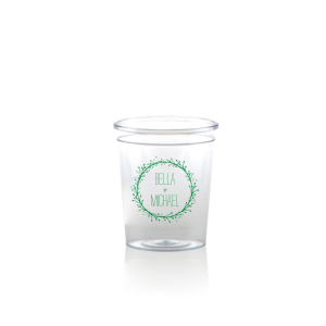 Our personalized Matte Leaf Ink Plastic Shot Glass with Matte Leaf Ink Print Color has a Twig Wreath graphic and is good for use in Frames themed parties and can be personalized to match your party's exact theme and tempo.