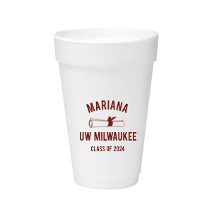 The ever-popular Matte Merlot Ink 20 oz Styrofoam Cup with Matte Merlot Ink Cup Ink Colors has a Graduation Scroll graphic and is good for use in Graduation themed parties and can be customized to complement every last detail of your party.