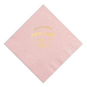 Make her Bachelorette extra special with customized napkins! Add the bride-to-be's name for a personal touch. This Ballet Pink napkin with Shiny 18Kt Gold foil can be personalized to complement every last detail of the party.