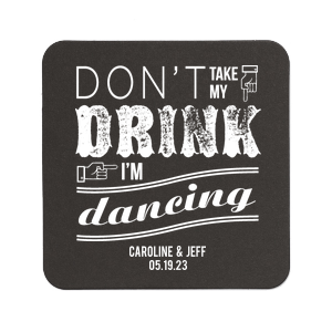 Our beautiful custom White Square Coaster with Satin French Blue Foil has a I'm Dancing 2 graphic and is good for use in Wedding, Words themed parties and will look fabulous with your unique touch. Your guests will agree!