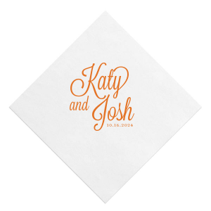 Our custom White Quick Ink Printed Cocktail Napkin with Matte Tangerine Ink  can be personalized to match your party's exact theme and tempo.