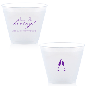 Customize a Sip, Sip Hooray! plastic cup for a festive and personalized touch to your wedding bar. Add your wedding hashtag and invite guests to share their photos of your big day on social media.