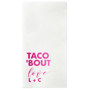 Custom Watercolor Sunrise Cocktail Napkin with Shiny Fuchsia Foil will look fabulous with your unique touch. Your guests will agree!