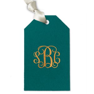 ForYourParty's personalized Poptone Teal/Peacock Large Wave Gift Tag with Shiny Copper Foil will give your party the personalized touch every host desires.