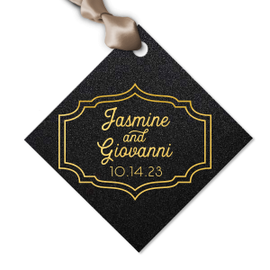 Our custom Stardream Black Luggage Gift Tag with Shiny 18 Kt Gold Foil can be customized to complement every last detail of your party.