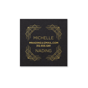 ForYourParty's personalized Natural Black Business/Calling Card with Shiny 18 Kt Gold Foil has a Deco Frame 4 graphic and is good for use to add that special touch to a first impression. Showcase your style in every detail of your party's theme!