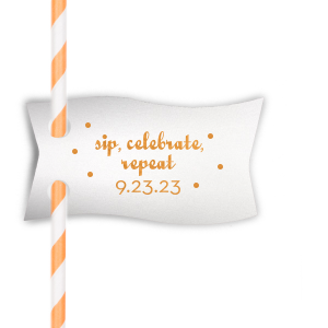 Dress up drinks with your theme! Add this personalized straw tag in Stardream Crystal White with Copper foil and polka dots for a fun bar addition. Our trendy Sip, Celebrate, Repeat design will be a hit.