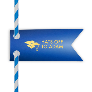 Graduation Cap Straw Tag