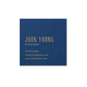 Our custom Linen Navy Blue Business/Calling Card with Satin 18 Kt. Gold Foil are a must-have for your next networking event—whatever the occasion!