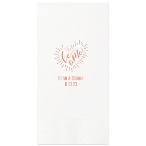 Have the best party details ever with this Te Amo napkin. The Shiny Rose Gold foil and White napkin work together for a stylish look. Keep these colors or change to match your theme. Add your names and wedding date for a bar, dessert table or appetizer addition you and your guests will love!