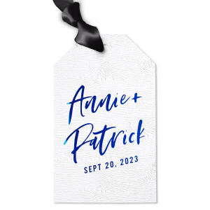 Our personalized Marble Gray Large Oval Gift Tag with Shiny Lavender Foil will impress guests like no other. Make this party unforgettable.