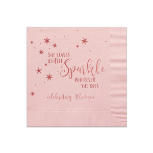 ForYourParty's precious Leave a Little Sparkle custom cocktail napkin has a gorgous starry night graphic and is perfect for the birthday, graduation party or bat mitzvah you are planning.  Bring the party to the details with with custom designed party napkins.