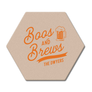 Our custom Eggshell Square Coaster with Matte Tangerine Foil has a Brew graphic and is good for use in Drinks and Halloween themed parties and can be personalized to match your party's exact theme and tempo.