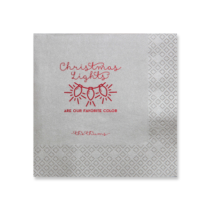 ForYourParty's elegant Galvanized Silver Shimmer Cocktail Napkin with Shiny Convertible Red Imprint Foil Color has a Lights graphic and is good for use in Holiday, Christmas themed parties and will make your guests swoon. Personalize your party's theme today.