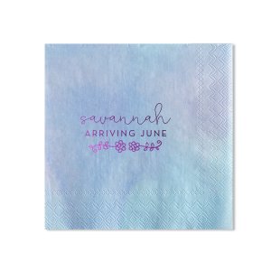 Our custom Watercolor Ocean Patterned Cocktail Napkin with Shiny Amethyst Foil has a Flower Vine graphic and is good for use in Floral themed parties and will add that special attention to detail that cannot be overlooked.