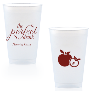 Personalized Matte Merlot Ink 10 oz Frost Flex Cup with Matte Merlot Ink Cup Ink Colors has a Apple graphic and is good for use in Food themed parties and can be customized to complement every last detail of your party.