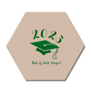 Our custom Silver with Black back Nouveau Coaster with Shiny Leaf Foil Color has a Cap graphic and is good for use in Graduation themed parties and will add that special attention to detail that cannot be overlooked.