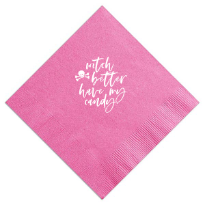 Personalized Candy Pink Cocktail Napkin with Matte White Foil has a Skull & Crossbones graphic and is good for use in Halloween themed parties and will add that special attention to detail that cannot be overlooked.