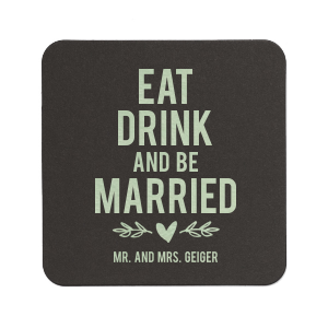 Personalized White Square Coaster with Shiny Green Tea Foil has a Leaf Heart Accent graphic and is good for use in Love and Wedding themed parties and will look fabulous with your unique touch. Your guests will agree!