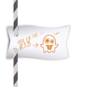 Our personalized Natural Frost White Double Point Straw Tag with Shiny Copper Foil has a Ghost 2 graphic and is good for use in Halloween themed parties and will impress guests like no other. Make this party unforgettable.