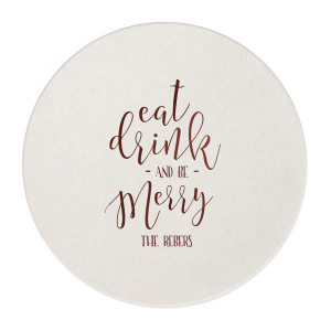 Custom Eggshell Round Coaster with Shiny Merlot Foil Color will give your party the personalized touch every host desires.