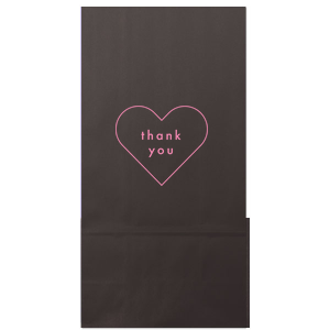 Our beautiful custom Ivory Party Bag with Matte Ballet Pink Foil has a Thank You Heart graphic designed by Martha Stewart Weddings. Send guests home with a sweet treat in style!