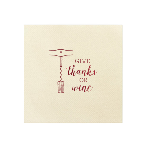Our beautiful custom Ivory Shimmer Cocktail Napkin with Shiny Merlot Foil has a Corkscrew graphic and is good for use in Drinks themed parties and can be customized to complement every last detail of your party.