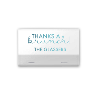 Our beautiful custom Shiny White 40 Strike Matchbook with Shiny Turquoise Foil can be personalized to match your party's exact theme and tempo.