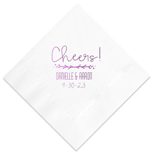 ForYourParty's personalized Lavender Linen Like Cocktail Napkin with Shiny Amethyst Foil has a Leaf Vine graphic and is good for use in Frames themed parties and can be personalized to match your party's exact theme and tempo.