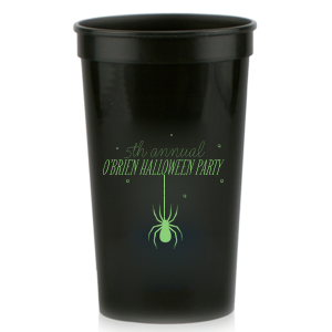 Personalized Black 16 oz Stadium Cup with Matte Key Lime Ink Cup Ink Colors has a Spider graphic and is good for use in Halloween themed parties and will look fabulous with your unique touch. Your guests will agree!