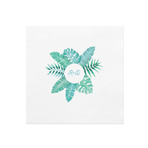 Personalized White Borderless Photo/Full Color Cocktail Napkin with Matte Teal/Peacock Ink Digital Print Colors will make your guests swoon. Personalize your party's theme today.