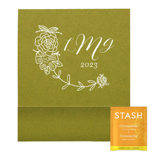 Our custom Poptone Dark Olive Tea Favor with Matte White Foil has a Peony Flourish graphic and is good for use in Floral, Wedding themed parties and will make your guests swoon. Personalize your party's theme today.