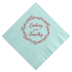 The ever-popular Aqua Cocktail Napkin with Shiny Convertible Red Foil has a Rustic Wreath graphic and is good for use at wedding themed parties and will look fabulous with your unique touch. Your guests will agree!