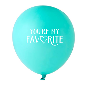 ForYourParty's elegant Tiffany Designer Balloon with White Ink Ink Color has a You're my favorite graphic and is good for use in Words, Bridal Shower themed parties and will look fabulous with your unique touch. Your guests will agree!
