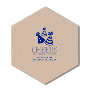 Be a stellar host and give your guest of honor birthday details they'll love. Customize these Party Hat scalloped coasters with the birthday boy's name and hold old he is turning for a festive bar addition.