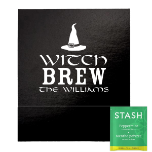 Our personalized Shiny Black Tea Favor with Matte White Foil Color has a Witch's Hat graphic and is good for use in Halloween themed parties and are a must-have for your next event—whatever the celebration!