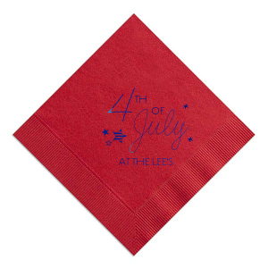 Give your 4th of July party the personalized touch that every host desires with this Convertible Red 4th of July Stars Diamond Cocktail Napkin.  Add your last name in Shiny Royal Blue for the ultimate patriotic pop!