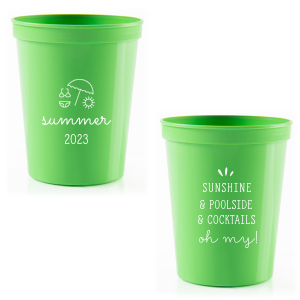 The ever-popular Lime 16 oz Stadium Cup with Matte White Ink Cup Ink Colors has a Summer Beach graphic and is good for use in Sports themed parties and can be customized to complement every last detail of your party.