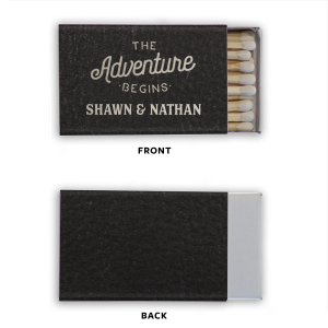 Our custom Black Classic Leather Matchbox with Shiny Sterling Silver Foil has a The Adventure Begins graphic and is good for use in Wedding themed parties and will make your guests swoon. Personalize your party's theme today.