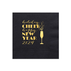 Our personalized Black Cocktail Napkin with Shiny 18 Kt Gold Foil has a Single flute graphic and is good for use in Drinks, Holiday, Wedding themed parties and can be personalized to match your party's exact theme and tempo.