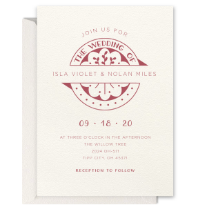 The ever-popular Lettra Pearl White 110lb Invitation with Purple Ink Letterpress Inks has a Wedding Badge graphic and is good for use in Wedding, Floral themed parties and couldn't be more perfect. It's time to show off your impeccable taste.