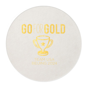Custom Eggshell Square Coaster with Shiny 18 Kt Gold Foil has a Trophy graphic and is good for use in Olympic Sports themed parties and will impress guests like no other. Make this party unforgettable.