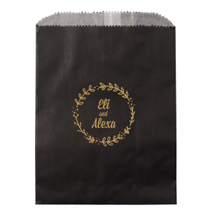 Our custom Satin 18 Kt. Gold Small Cellophane Bag with Satin 18 Kt. Gold Foil has a Leaf Frame graphic and is good for use in Floral themed parties and are a must-have for your next event—whatever the celebration!