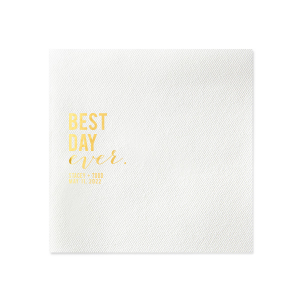 Celebrate your best day ever with custom cocktail napkins that proclaim it! Personalize your wedding theme with your custom designed cocktail napkins today.