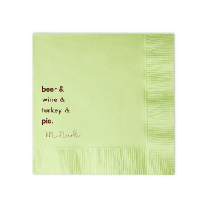 Our beautiful custom Honeydew Cocktail Napkin with Matte Chocolate Foil will make your guests swoon. Personalize your party's theme today.