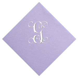 The ever-popular Amethyst Foil Embossed Cocktail Napkin with Shiny Champagne Foil can be customized to complement every last detail of your party.