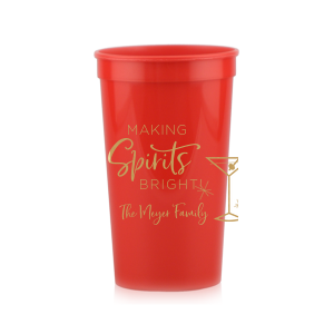 Our custom Red 16 oz Stadium Cup with Gold Ink Cup Ink Colors has a Martini Glass graphic and is good for use in Drinks themed parties and will look fabulous with your unique touch. Your guests will agree!