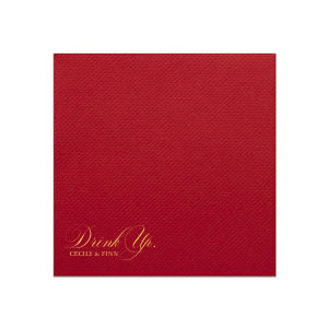 Our beautiful custom Ivory Cocktail Napkin with Shiny 18 Kt Gold Foil Color will look fabulous with your unique touch. Your guests will agree!