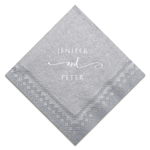 "Wedding beverage napkins featuring the couples' names joined by a scripty ""and"" are stylish, and they perfect being trendy while also classic! Personalize this lovely gray and white color combination or choose colors to match your wedding theme!"